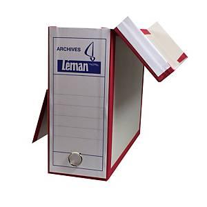 Boîte d archives Leman 32,5x26x11 cm, gris/rouge (13408)