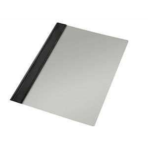 Pack 10 pastas com fixador metálico Esselte - fólio - PVC - 150 folhas - preto