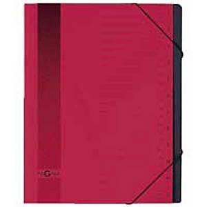 Ordnungsmappe Pagna A4, Karton mit Gummibandverschluss, 12teilig, rot