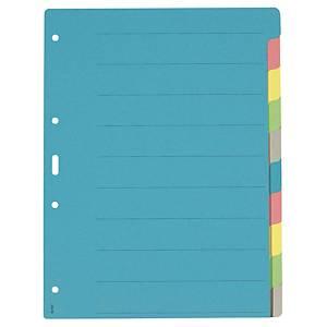 Register A4, Karton 210 g/m2, 10teilig, farbig