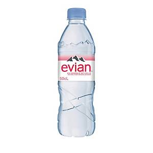Evian still mineral water, package of 6 x 50 cl