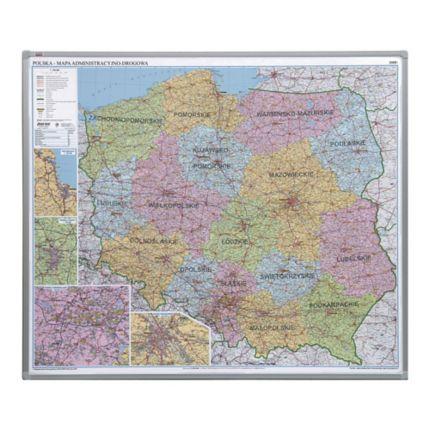 Administracyjno Drogowa Mapa Polski 2x3 W Ramie Aluminiowej 1025