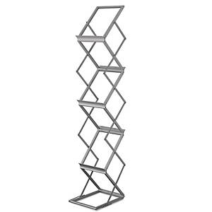 WRITEBEST FOLDABLE SILVER 3-TIER MAGAZINE RACK