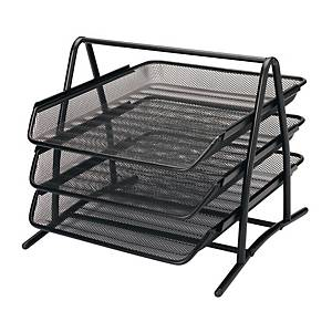 MESH METAL 3 TIER DOC TRAY BLACK H270 X W300 X D340MM