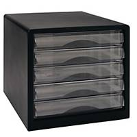 BLACK DOCUMENT CASE 5 CLOSED DRAWERS