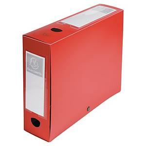 Exacompta Opaque Polypropylene A4 Filing Box, 80mm Spine, Red