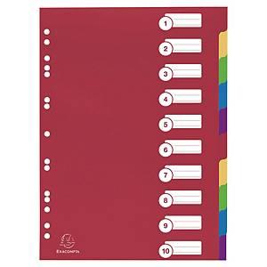 Exacompta neutrale tabbladen extra sterk 10 tabs PP 11-gaats