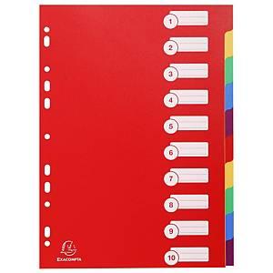 Exacompta extra sterke neutrale tabbladen, A4, PP, 11-gaats, per 12 tabs