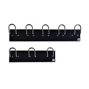 Perchero de pared Cilindro H-15 - 5 colgadores - negro y cromado