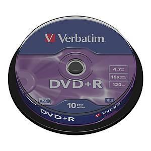 Płyty DVD+R VERBATIM 43498 Matt Silver 4,7 GB, 16x, cake 10 sztuk