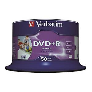 Verbatim DVD+R 4.7GB Printable - Spindle Pack of 50