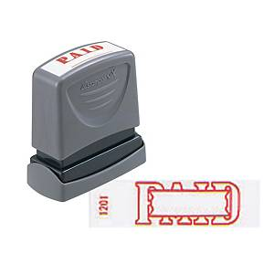 Xstamper VX Inking Paid With Date Stamp Red