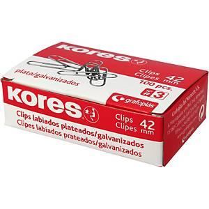 Caja de 100 clips galvanizados Kores nº 3 - 40 mm
