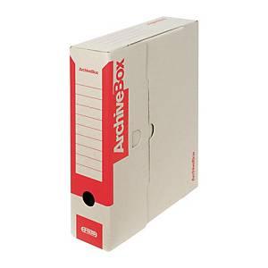 Archivačné prenosné krabice Emba, 33 x 26 x 7,5 cm, červené, balenie 25 ks