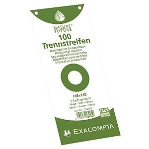 Exacompta petits intercalaires rectangulaires carton 190g vert - paquet de 100