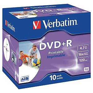 DVD-R+ Verbatim 4,7 Go (120 min.),  vitesse 10x, imprimable, jewel case, 10