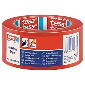 tesa® 60760 PVC jelzőszalag piros, 50 mm x 33 m