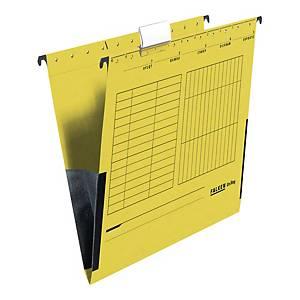 Teczka zawieszkowa FALKEN z płóciennym bokiem A4 żółta opakowanie 25 sztuk