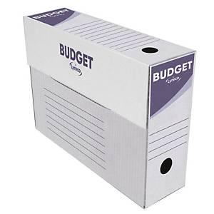 Pack 50 caixas de arquivo morto Lyreco - fólio - lombada 100 mm - branco