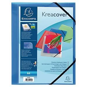 KreaCover® 3 pólyás irattartó mappa, gumiszalaggal, átlátszó kék