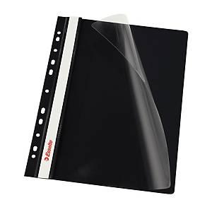 Esselte függő panorámás gyorsfűző, fekete, 10 darab/csomag