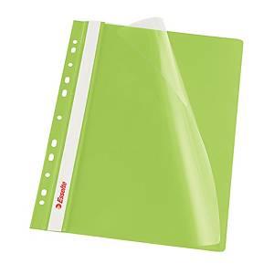 Závesný prezentačný rýchloviazač Esselte, A4, zelený, balenie 10 kusov