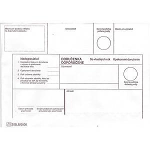Obálky s doručenkou  do vlastných rúk, opakované doručenie  B6, 50 ks/balenie