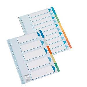 Conjunto 10 separadores Esselte - A4 - PP - sortido