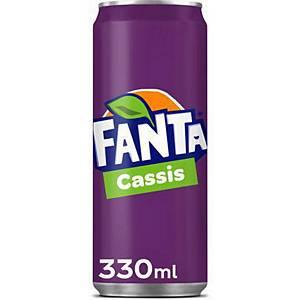 Soda Fanta cassis, le paquet de 24 canettes de 33 cl