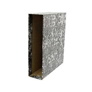 Cajetín archivador Lyreco - cuarto apaisado - lomo 82 mm - negro jaspeado