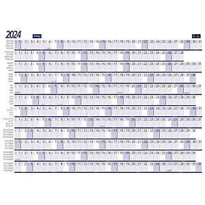 Calendrier Lyreco pour planning annuel, quadrilingue, 82 x 59 cm