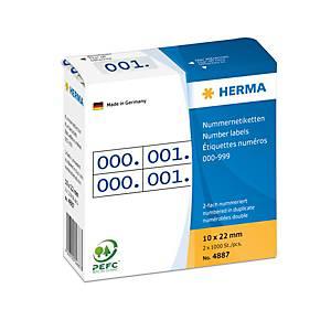 /PA1000 HERMA ETIQ. NUM.DOUBL 0-999 BLEU