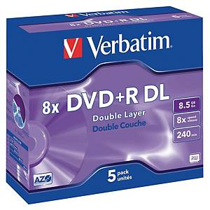 DVD+R Doppel Layer Verbatim, 8.5 GB, 8x, Box à 5 Stück