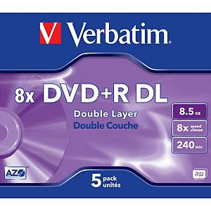 Verbatim DVD+R 8.5GB 1-8x speed double layer (DL) jewel case - pack of 5