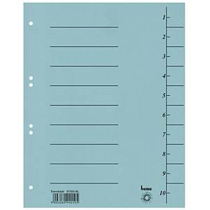 Bene karton elválasztólap, A4, számozott, kék, 100 darab/csomag