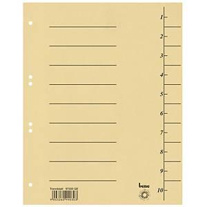 Bene karton elválasztólap, A4, számozott, sárga, 100 darab/csomag