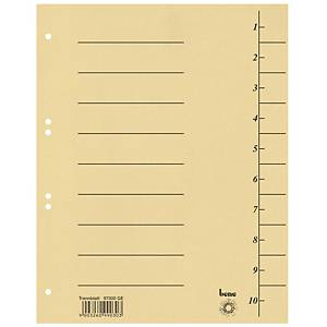 Rozdeľovač kartónový Bene, A4, očíslovaný, žltý, balenie 100 kusov