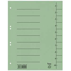 Bene karton elválasztólap, A4, számozott, zöld, 100 darab/csomag