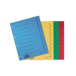 Bene Trennblatt aus Karton, A4, nummeriert, blau, Packung mit 50 Stück