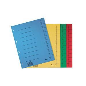 Rozdeľovač kartónový Bene, A4, očíslovaný, žltý, balenie 50 kusov
