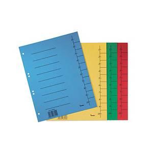 Bene karton elválasztólap, A4, számozott, piros, 50 darab/csomag