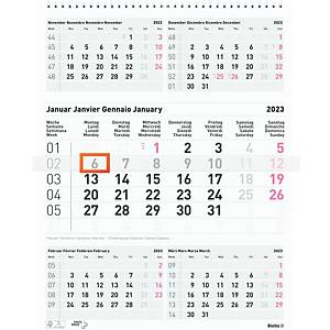 Monatskalender Biella 889030, 5 Monate pro Seite, grau/rot