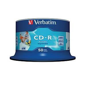 CD-R Verbatim 43438, 700MB, 80Min, 52x, bedruckbar, Spindel mit 50 Stück