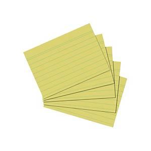 Karteikarten A5, liniert, gelb, 100 Stück