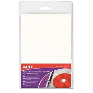 Pack de 35 botones adhesivos APLI para fijar CD/DVD - espuma - blanco