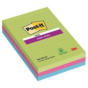 Post-it Super Sticky Notes MarraKesh, linjeret, pakke a 3 blokk