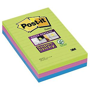Post-it® Super Sticky Notes 660SUC, gelijnd Ultra kleuren, 102 x 152 mm, per 3