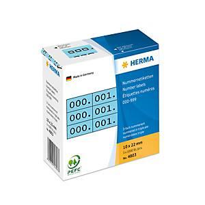 /PK1000 HERMA 4803 3-FACH NR.0-999 BLAU