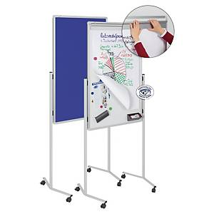 Legamaster 2104 multiboard mobile - whiteboard, blue pinboard and flipchart