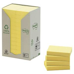Post-it® Notes recyclées 653, jaune pastel, 38 x 51 mm, les 24